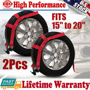 2x Car Tire Basket Straps Adjustable Wheel Net Set Flat Hook Fit Tow Dolly Demco