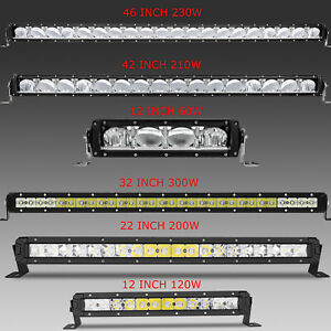 46 42 32 22 12 Led Light Bar Spot Beam Work Light Single Row Fog Light