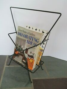 Restored Mid Century Eames Style Hourglass Wire Magazine Rack Stand Powder Coat