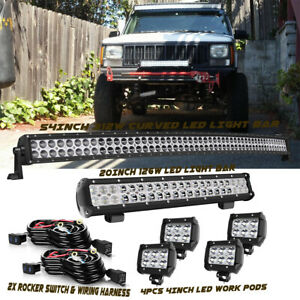 54 20 4 Led Light Bar Pods Bumper Roof Fog Offroad S F For Jeep Grand Cherokee