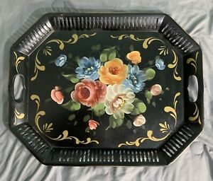 Large Vintage Tole Toleware Tray Black Floral Art Gift Products Hand Painted