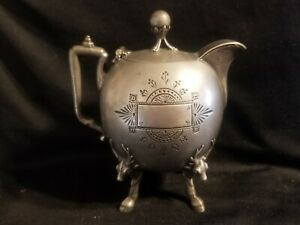 1890 S Middletown Silverplate Etched Stag Elk Head Hoof Foot Teapot Or Creamer