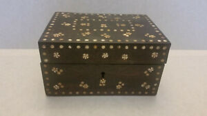 Vintage Middle Eastern Wooden Box W Inlay Leaf Pattern Old Paper In Lid