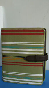 Franklin Covey Classic 1 1 8 rings Canvas Striped Sim Leather Planner Binder