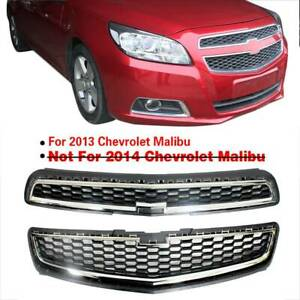Honeycomb Mesh Abs Front Bumper Upper lower Grille Chrome For Chevy Malibu 2013