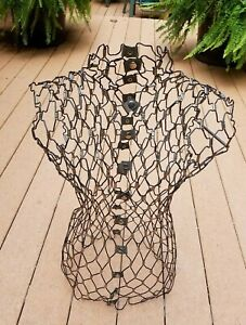 Unusual Metal Mesh Snap Buttons Wire Dress Form Body Mannequin Display Stand