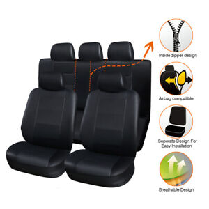 11pcs Breathable Pu Leather Car Seat Cover Full Seat Protector Set Front Rear