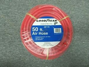 Goodyear Rubber Air Hose 3 8in X 50ft Red 800 Lb Burst Strength