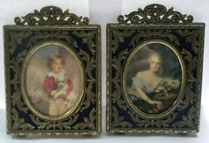 Ornate Victorian Brass Standing Picture Frames Set Italy Victorian Boy