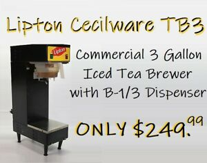 Lipton Cecilware Tb3 3 Gallon Commercial Iced Tea Brewer With B 1 3 Dispenser