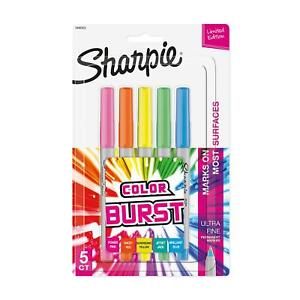 Sharpie Color Burst Permanent Markers Ultra fine Point Assorted 5 pack