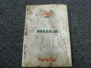 Lister Hr4 Hr6 S6 Air Cooled Diesel Engine Parts Catalog Manual List