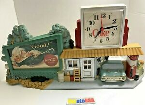 Coca Cola 3D Wall Clock 1950's Gas Station Route 66 Plastic Vintage Hanging Wall