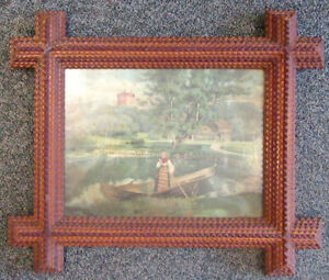 Late 19th C Large Multi Tone Chip Carved Tramp Art Frame