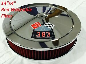 Chrome Chevrolet Air Cleaner 14x4 Bbl Washable Red 383 Decal 4 Tall Filter