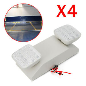 Led Emergency Exit Light 4pcs Twin Square Head Safety Lamp With Battery Backup