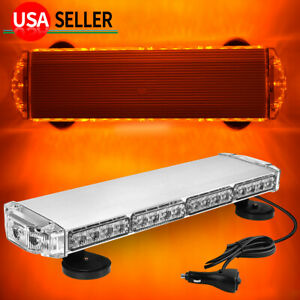 Universal 38w Amber Led Roof Mount Emergency Strobe Light Signal Lamp W Cable
