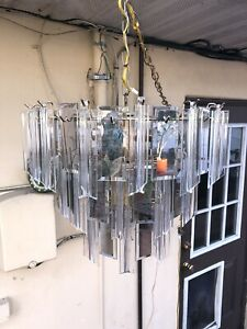 3 Tier Chandelier Lucite Mirrored Smoked Glass Hollywood Regency Hall Bedroom