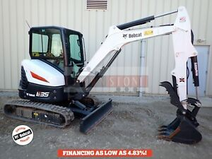 2018 Bobcat E35i Mini Excavator Cab Heat ac Long Arm Thumb 2 Spd 170 Hrs