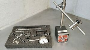 Starrett No 657aa Magnetic Base With A Starrett No 196 Indicator Set