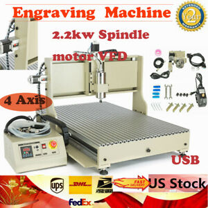 Usb 4 Axis Cnc 6090 Router Milling Engraving Machine 2 2kw Spindle Motor Vfd