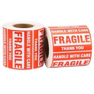1 Roll 500pcs Fragile Warning Sticker Handle With Care Keep Dry Express Lab F8z8