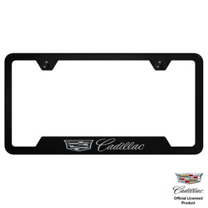 Au tomotive Gold Plate Frame For Cadillac New Logo Stainless Steel Black