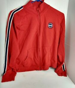 Women's Official Coca-Cola Jacket Size Small Full Zip Striped Sleeves
