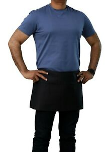 Top Quality 12 X 26 Black Waist Apron With Pockets Restaurant Linen Store