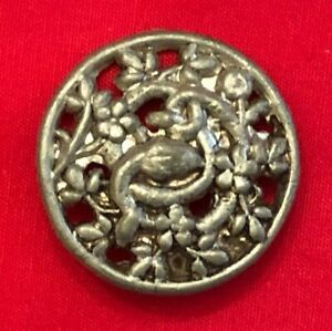 Unusual Antique Pewter Button Pierced Snake Entwined In Flowering Ivy 1 1 8