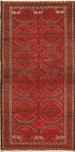 Vintage Tribal Geometric Balouch Area Rug Wool Hand Knotted Oriental Carpet 3x5