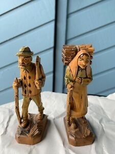 Antique German Hand Carved Wooden Figurines Peasant Couple Man Woman Travelers