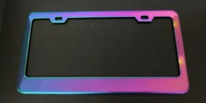 X1 Universal Neo Stainless Steel License Plate Frame With 2 Plastic Screw Caps
