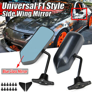 2x Carbon Fiber Look F1 Style Racing Rearview Side Mirror For Honda Toyota Mazda