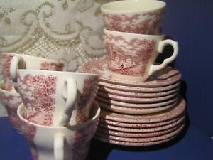 Staffordshire England Underglazed Painting Ironstone Cups Saucers