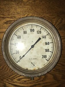 Vintage Metal 1850 Ashcroft Pressure Gauge 0 200 Psi Steampunk Crafts
