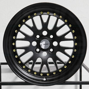 1 new 15 Avid1 Av12 Av 12 Wheel 15x8 4x100 25 Black Gold Rivets Rim