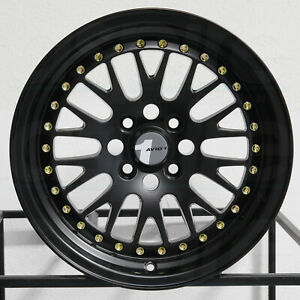 4 new 15 Avid1 Av12 Av 12 Wheels 15x8 4x100 25 Black Gold Rivets Rims