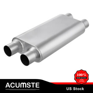 3 Chamber Oval 2 5 Inlet 2 5 Outlet Dual 17 Body Length Muffler Exhaust Race