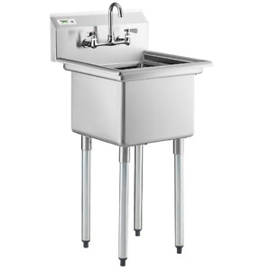 22 Sink 17 X 17 X 12 W Faucet Stainless Steel Commercial Utility Prep Wash