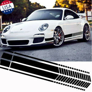 2x Black Sport Racing Stripe Graphic Sticker Car Body Side Door Vinyl Decal Trim