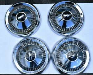 57 Chevrolet 1957 Chevy Bel Air 150 210 4 New Dog Dish Hubcaps W Bowtie