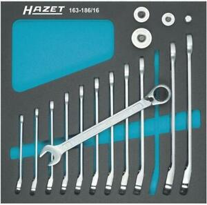 Hazet 163 186 16 Ratcheting Combination Wrench Set With Square Adapters