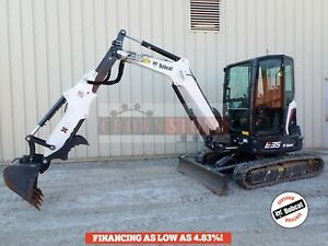 2018 Bobcat E35 Mini Excavator Cab Extendable Arm Heat ac Thumb 34 Hrs 2sp