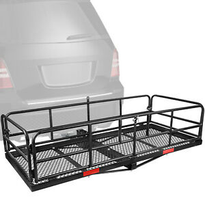 Rear Hitch Cargo Carrier Folding Luggage Basket With High Sides 2 Receivers