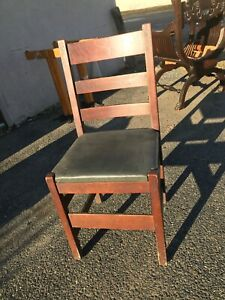 L Jg Stickley Ladder Back Mission Side Chair One Of Five Pk Up