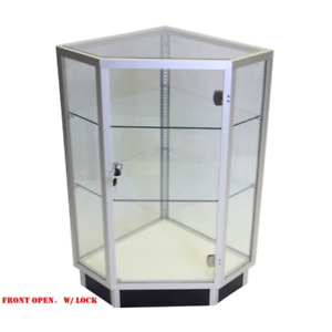 Aluminum Framed All Glass Corner Extra Vision Display Showcase With Front Doors