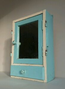 Vintage Wooden Medical Bathroom Cabinet Retro Cupboard White Mirror Blue Chippy