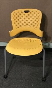 Herman Miller Caper Stacking Chair With Casters Yellow Euc