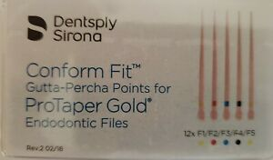 Protaper Gold Universal F1 f5 Assorted Gutta Percha Dentsply Tulsa Box Of 60